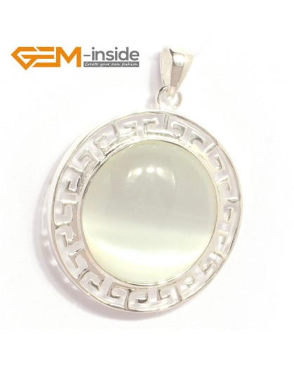 G6372 white cat eye NEW colorful 23mm coin beads silver pendant 35x45mm FREE box +necklace chain Pendants Fashion Jewelry Jewellery