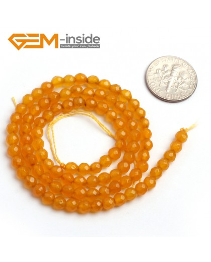 "G6378 4mm Round Faceted Yellow Jade Beads Strand 15"" Stone Beads for Jewelry Making Wholesale"