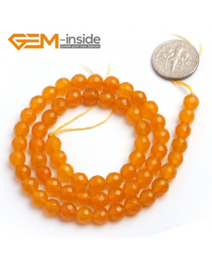"G6379 6mm Round Faceted Yellow Jade Beads Strand 15"" Stone Beads for Jewelry Making Wholesale"