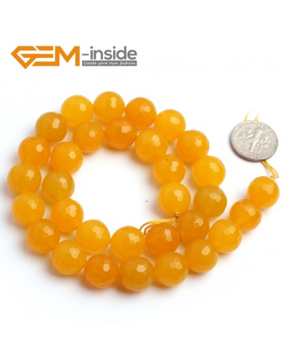 "G6380 12mm Round Faceted Yellow Jade Beads Strand 15"" Stone Beads for Jewelry Making Wholesale"