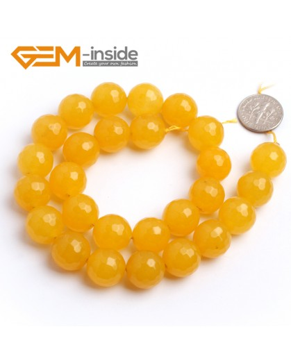 "G6381 14mm Round Faceted Yellow Jade Beads Strand 15"" Stone Beads for Jewelry Making Wholesale"
