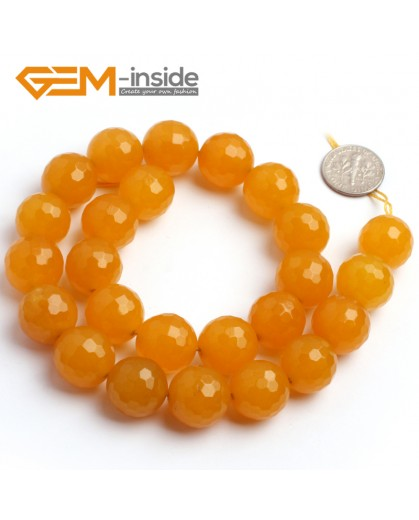 "G6382 16mm Round Faceted Yellow Jade Beads Strand 15"" Stone Beads for Jewelry Making Wholesale"