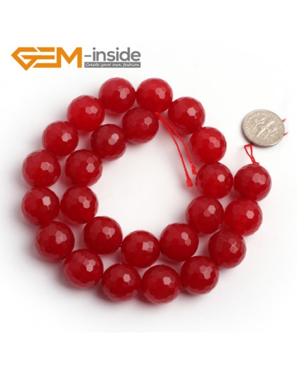 """G6388 16mm G-Beads Round Faceted Red Jade Beads Strand 15"""" Jewelry Making Beads 4-18MM Natural Stone Beads for Jewelry Making Wholesale"""