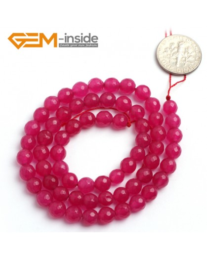 "G6390 6mm Round Faceted Meganta Jade Beads Dyed Color Strand 15"" Stone Beads for Jewelry Making Wholesale"