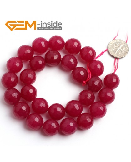 """G6391 14mm Round Faceted Meganta Jade Beads Dyed Color Strand 15"""" Stone Beads for Jewelry Making Wholesale"""