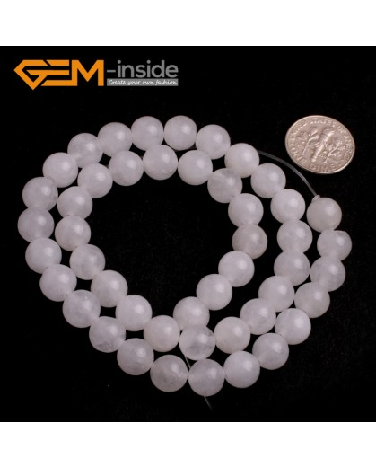 "G6430 White 8mm Round Smooth Jade Beads Jewellery Making Loose Beads 15"" Pick Size & Colour Natural Stone Beads for Jewelry Making Wholesale"