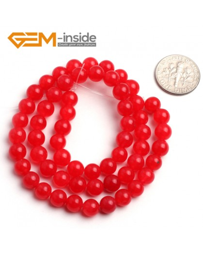 "G6448 6mm Round Red Jade Loose Beads Stone Strand 15 "" Stone Beads for Jewelry Making Wholesale"