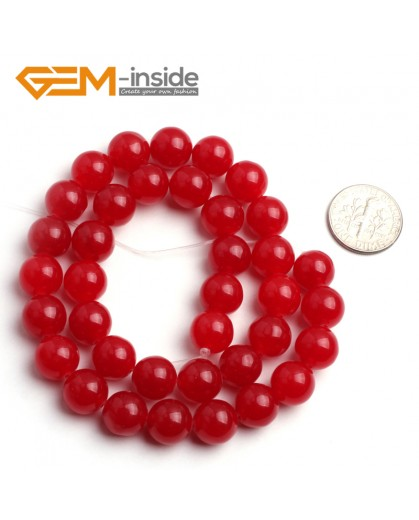"G6450 10mm Round Red Jade Loose Beads Stone Strand 15 "" Stone Beads for Jewelry Making Wholesale"