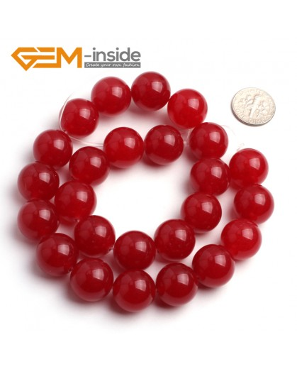 "G6453 16mm Round Red Jade Loose Beads Stone Strand 15 "" Stone Beads for Jewelry Making Wholesale"