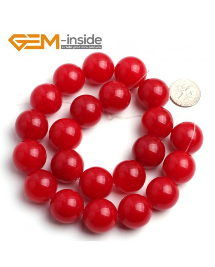 "G6454 18mm Round Red Jade Loose Beads Stone Strand 15 "" Stone Beads for Jewelry Making Wholesale"