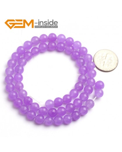 """G6476 Purple 6mm Round Smooth Jade Beads Jewellery Making Loose Beads 15"""" Pick Size & Colour Natural Stone Beads for Jewelry Making Wholesale"""