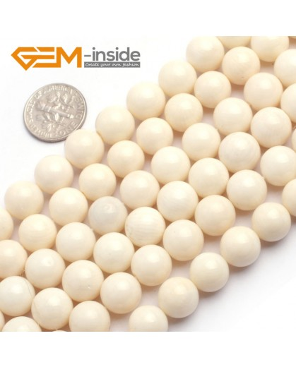 "G6506 10mm Natural Round Cream White Coral Gemstone DIY Jewelry Making Beads 15"" 4-12mm Natural Stone Beads for Jewelry Making Wholesale`"