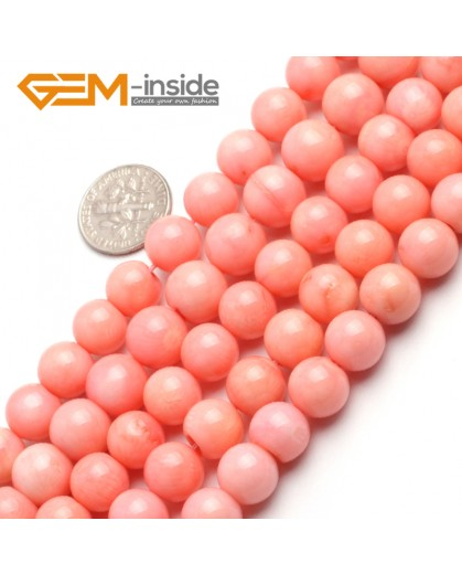 "G6509 10mm Round Pink Coral Beads Jewelry Making Gemstone Loose Beads Strand 15"" Stone Beads for Jewelry Making Wholesale"