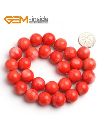 "G6510 13-14mm Round Orange Coral Beads Jewelry Making Gemstone Loose Beads Strand 15"" Stone Beads for Jewelry Making Wholesale"