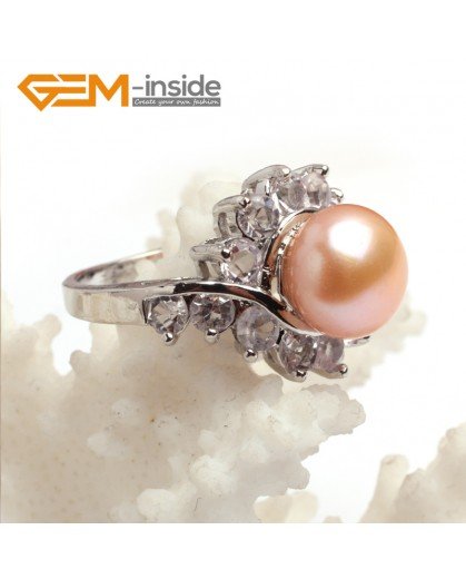 G6550 pink Fsahion 9-10mm freshwater pearl white gold plated rings with rhinestone 4 colors Rings Fashion Jewelry Jewellery