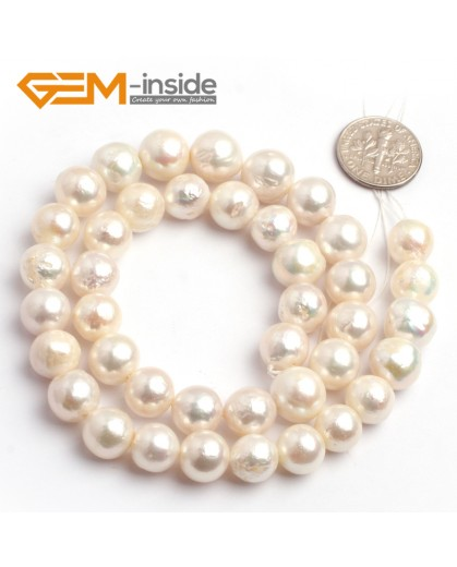 "G6565 9-10mm Natural White Round Edison Nucleated Pearl Jewelry Making Beads15"" 9/10/11/12mm Natural Stone Beads for Jewelry Making Wholesale`"