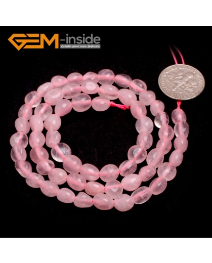 "G6676 6x8mm Rose Quartz Freeform Loose Beads Strand 15"" Natural Stone Beads for Jewelry Making Wholesale"