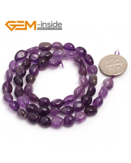"G6679 6x8mm Amethyst  Freeform Gemstone Loose Beads Strand 15"" Natural Stone Beads for Jewelry Making Wholesale"