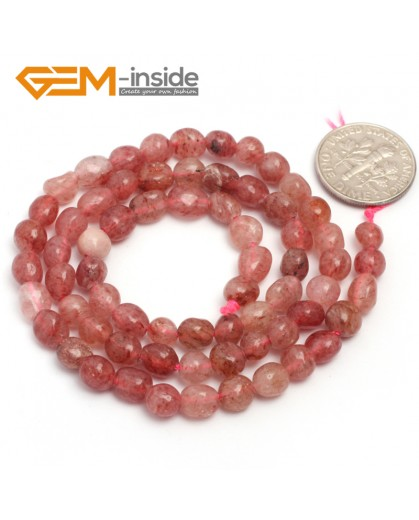 "G6683 6x8mm Strawberry Quartz  Freeform Gemstone Loose Beads Strand 15"" Natural Stone Beads for Jewelry Making Wholesale"