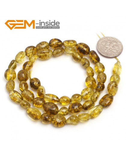"G6685 6x8mm Dyed Green Yellow Crystal Quartz  Freeform Loose Beads Strand 15"" Beads for Jewelry Making Wholesale"