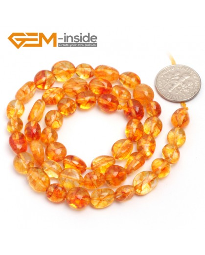 "G6686 6x8mm Dyed Yellow Crystal Quartz Freeform Loose Beads Strand 15"" Beads for Jewelry Making Wholesale"