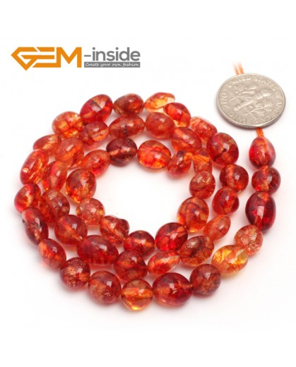 "G6687 6x8mm Dyed Red Crystal Quartz  Freeform Gemstone Loose Beads Strand 15""Natural Stone Beads for Jewelry Making Wholesale"