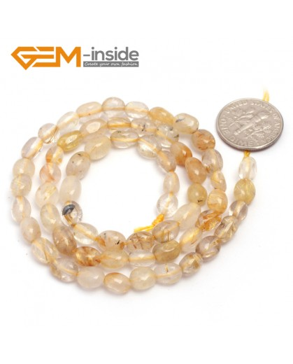 "G6690 6x8mm Yellow Rutilated Quartz  Freeform Gemstone Loose Beads Strand 15""Natural Stone Beads for Jewelry Making Wholesale"