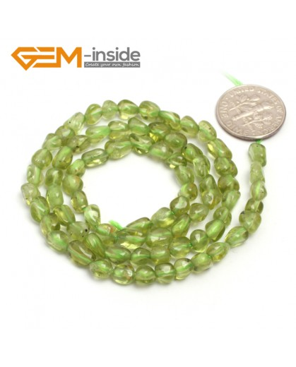 "G6691 6x8mm Green Peridot  Freeform Gemstone Loose Beads Strand 15"" Natural Stone Beads for Jewelry Making Wholesale"