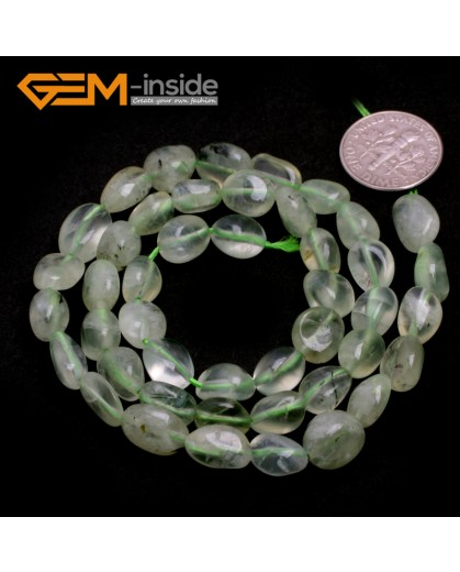 "G6695 6x8mm Green Prehnite Freeform Gemstone Loose Beads Strand 15"" Natural Stone Beads for Jewelry Making Wholesale"