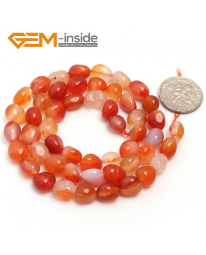 "G6697 6x8mm Red Carnelian Agate Freeform Gemstone Loose Beads Strand 15""Natural Stone Beads for Jewelry Making Wholesale"