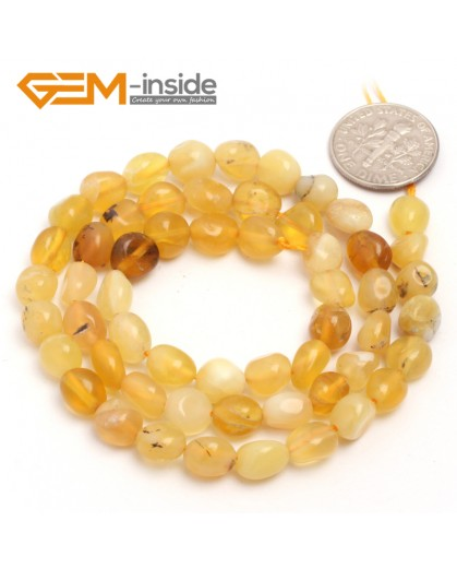 "G6699 6x8mm Yellow Opal Freeform Gemstone Loose Beads Strand 15"" Natural Stone Beads for Jewelry Making Wholesale"