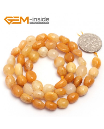 "G6700 6x8mm Yellow Jade Freeform Gemstone Loose Beads Strand 15"" Natural Stone Beads for Jewelry Making Wholesale"