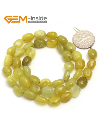 "G6701 6x8mm Green Lemon Stone Freeform Gemstone Loose Beads Strand 15"" Natural Stone Beads for Jewelry Making Wholesale"