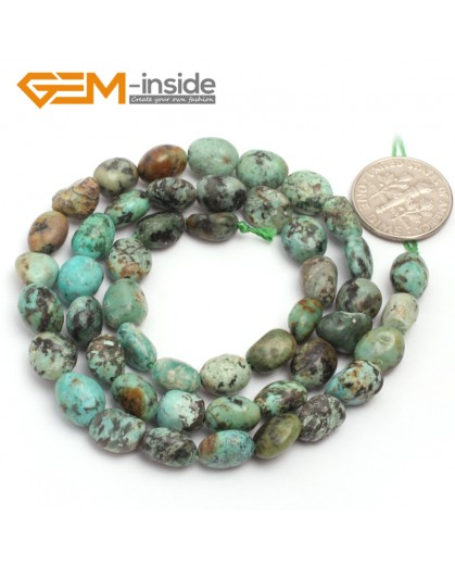 "G6704  6x8mm Africa Turquoise  Freeform Gemstone Loose Beads Strand 15"" Natural Stone Beads for Jewelry Making Wholesale"