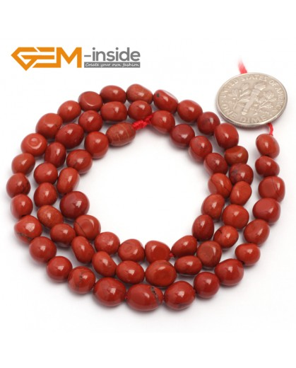 "G6707 6x8mm Red Jasper Freeform Gemstone Loose Beads Strand 15"" Natural Stone Beads for Jewelry Making Wholesale"