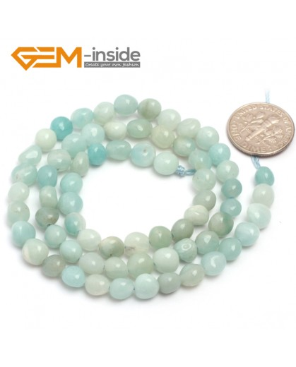 "G6710 6x8mm  Light Green Amazonite Freeform Gemstone Loose Beads Strand 15"" Natural Stone Beads for Jewelry Making Wholesale"