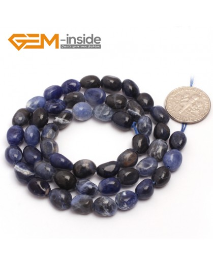 "G6712 6x8mm Blue Sodalite Freeform Loose Beads Strand 15"" Natural Stone Beads for Jewelry Making Wholesale"