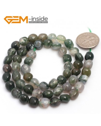 "G6715 6x8mm Moss Agate Freeform Loose Beads Strand 15"" Natural Stone Beads for Jewelry Making Wholesale"