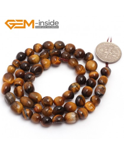 "G6718 6x8mm  Yellow Tiger Eye Freeform Gemstone Loose Beads Strand 15""Natural Stone Beads for Jewelry Making Wholesale"