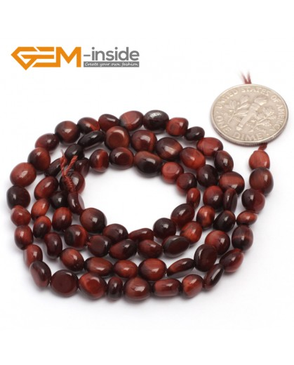 "G6719 6x8mm Red Tiger Eye Freeform  Loose Beads Strand 15"" Natural Stone Beads for Jewelry Making Wholesale"