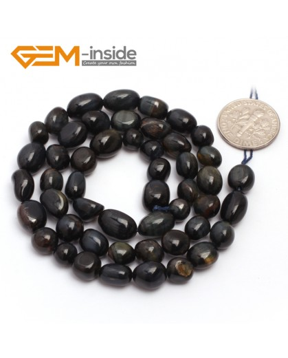 "G6720  6x8mm Blue Tiger Eye Freeform Gemstone Loose Beads Strand 15"" Natural Stone Beads for Jewelry Making Wholesale"
