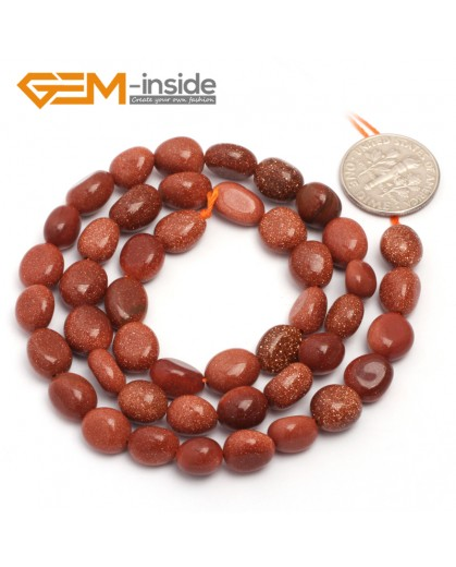 "G6721 6x8mm Gold Sand Stone Freeform Loose Beads Strand 15"" Natural Stone Beads for Jewelry Making Wholesale"