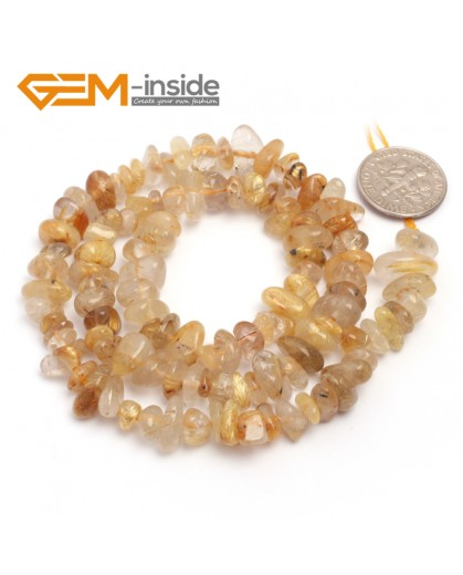 """G6758 Yellow Rutilated Quartz Freeform Chips Beads Strands 15"""" 4-6x7-10mm Jewelry Making 45 Natural Materials Natural Stone Beads for Jewelry Making Wholesale`"""