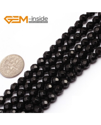 "G6800 6mm Round 64 faces Faceted Natural Black Agate Onyx Beads15"" Natural Stone Beads for Jewelry Making Wholesale"