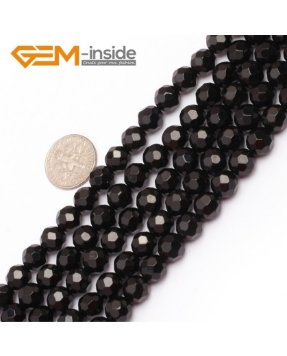 "G6801 8mm Round Faceted Natural Black Agate Beads15"" 64 Faces Natural Stone Beads for Jewelry Making Wholesale"