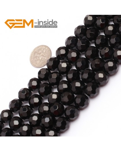 "G6802 10mm Round Faceted Natural Black Agate Onyx Beads15"" 64 Faces Natural Stone Beads for Jewelry Making Wholesale"