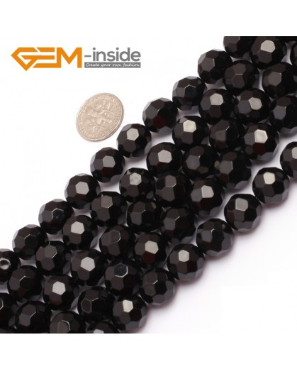 "G6803 12mm Round Faceted Natural Black Agate Onyx Beads15"" 64 Faces Natural Stone Beads for Jewelry Making Wholesale"