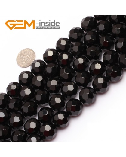 "G6804 14mm Round Faceted Natural Black Agate Onyx Beads15"" 64 Faces Natural Stone Beads for Jewelry Making Wholesale"