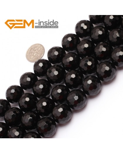 "G6805 16mm Round Faceted Natural Black Agate Onyx Beads15"" 64 Faces Natural Stone Beads for Jewelry Making Wholesale"