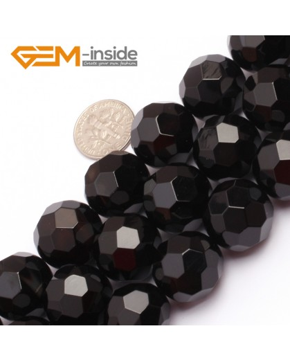 "G6806 18mm Round Faceted Natural Black Agate Onyx Beads15"" 64 Faces Natural Stone Beads for Jewelry Making Wholesale"
